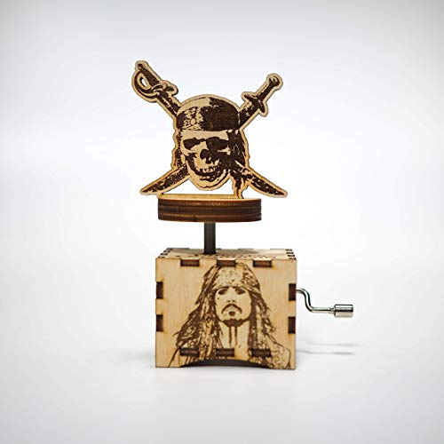 Pirates of the Caribbean Music Box - Davy Jones' Locket - Personalized engraved gift. Hand cranked mechanism.