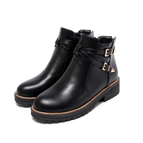 Kjære Tiden Kvinner Glidelås Spenne Dekorert Lav Hæl Ankel Boots Black