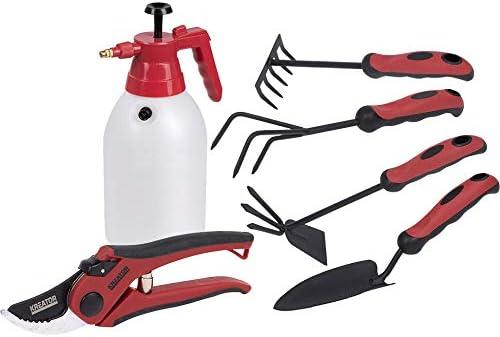 KREATOR - Set herramientas jardineria y huerto Kreator Kabra (pala transplantadora + mini rastrillo + escarificador manual + azada horquilla jardín + tijera poda + pulverizador presión Kreator)