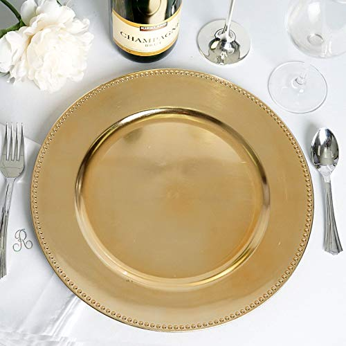 "Efavormart 24 pcs 13"" Gold Round Charger Plates Dinner Chargers for Tabletop Decor Holiday Wedding Catering Event Decoration"