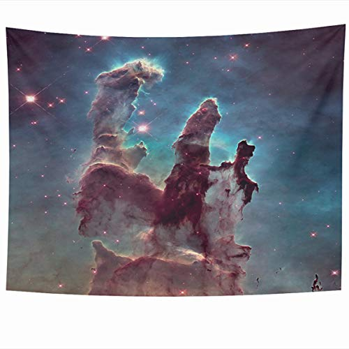 Ahawoso Tapestry 60x50 Inches Blue Pillars Creation Eagle Nebula NGC Spanish is Young Open Cluster Stars Gorgeous Wall Hanging Home Decor Tapestries for Living Room Bedroom Dorm