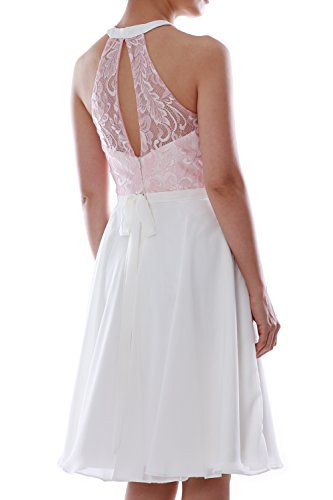 MACloth Women Halter Lace Short Wedding Party Bridesmaid Dress Homecoming Gown Gris