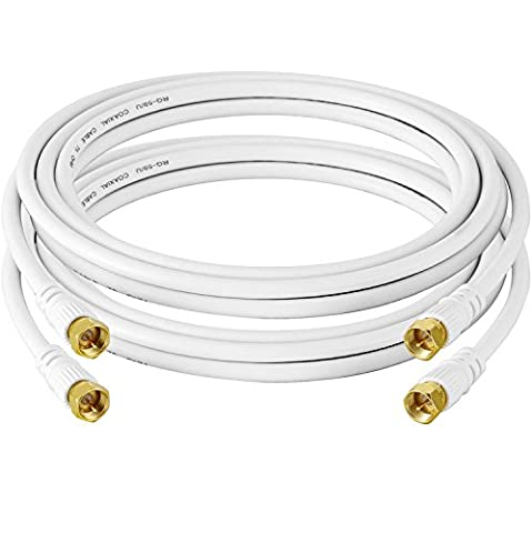 Coaxial Cable 9 Feet/2.75 Meter(2-Pack) ABIBY Coaxial Cable with F-Male Connectors - Ultra Series White - Ultra Rg6 Coaxial Cable