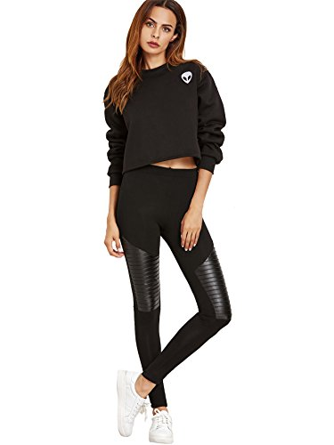 3ca09cbc293 Jual SweatyRocks Women s Faux Leather Inserted Leggings Outfit Yoga ...