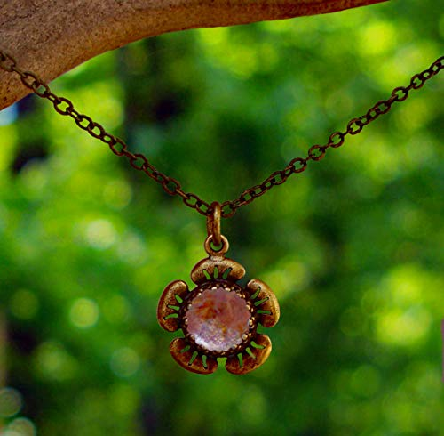 (Recycled Antique Pink Depression Glass and Antique Brass Flower Necklace)