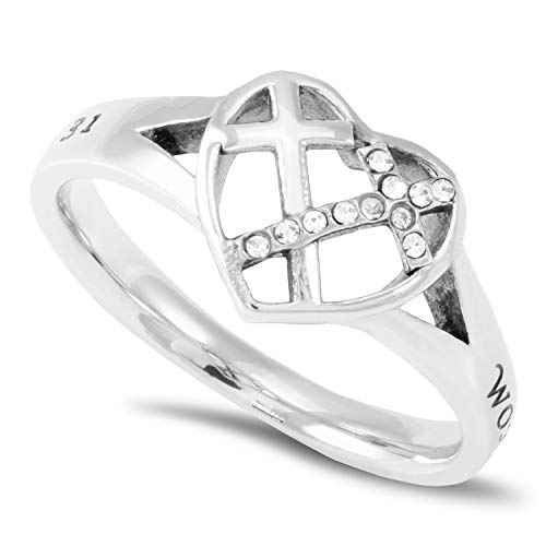 Patchwork Cross Heart Ring Woman of GOD - Proverbs 31 Stainless Steel Christian Bible Scripture Jewelry (7)