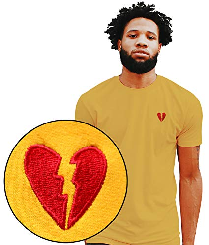 Riot Society Broken Heart Embroidered Mens T-Shirt - Gold, Medium -