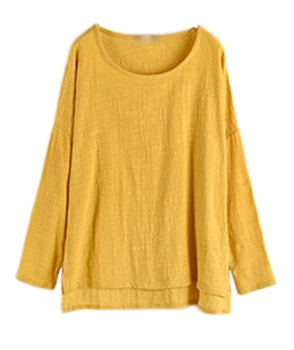 Soojun Women's Casual Loose Long Sleeve Round Collar Cotton Linen Shirt Blouse Tops, 2 Yellow, Small -