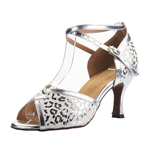 Wedding Heel 2 Silver PU Inch QJ809 5 Party UK Latin Dance 3 M Ballroom Womens Leather Salsa Tango MINITOO Sandals xOBq1B