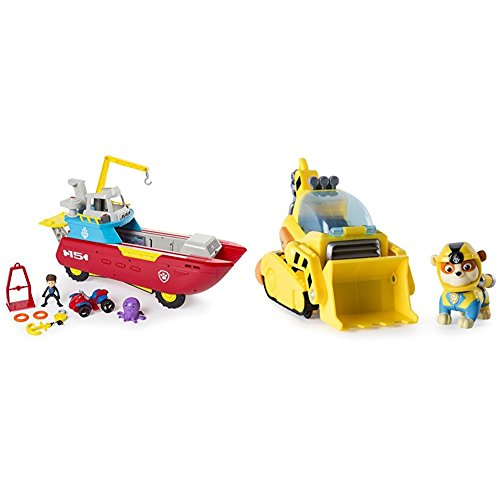ller Transforming Vehicle with Lights and Sounds with Paw Patrol Rubble's Transforming Sea Patrol Vehicle Bundle ()