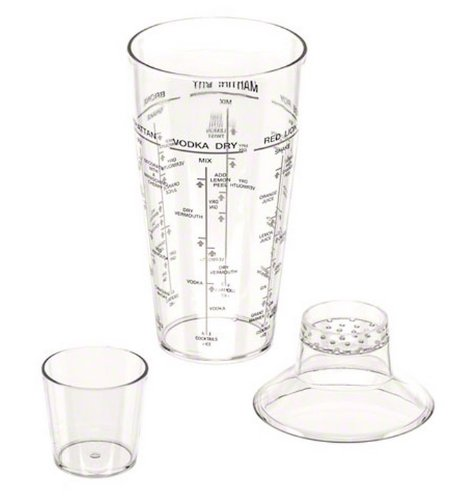 American Metalcraft (ACS123) 24 oz 3-Piece Acrylic Cocktail Shaker