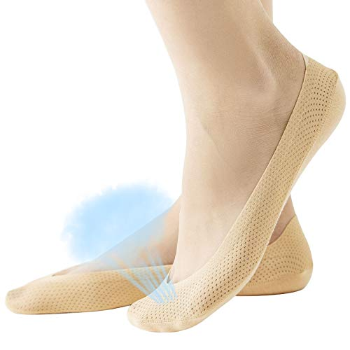 Women's No Show Liner Low Cut Cotton Nylon Boat Hidden Invisible Socks(4 Pairs) (Shoe Size 9-11, Mesh 4Nude)