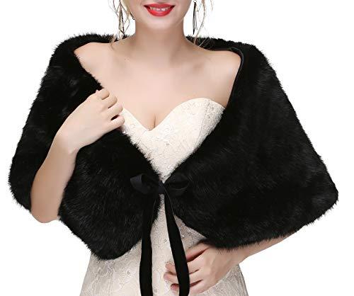 Decahome Women's Faux Fur Shawl Wraps Stole Cloak Coat Sweater Cape for Evening Party/Bridal/Wedding Black Fox Fur