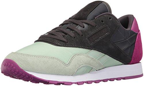 Reebok Women's CL Nylon CB Fashion Sneaker, Sage Mist/Coal/Fierce Fuchsia, 7.5 M US