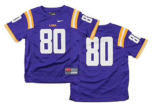 Nike NCAA Little Boys Kids LSU Lousiana State Tigers #80 Football Jersey, Purple State Nike Football Jersey