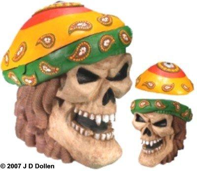 Caribbean Pirate Jamaican Rasta Human Skull Replica Stash Box By Nose Desserts Brand