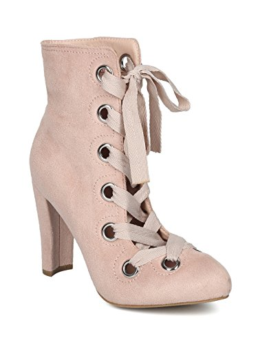 (Alrisco Women Faux Suede Grommet Lace Up Chunky Heel Ankle Boot HF19 - Nude Faux Suede (Size: 6.0))