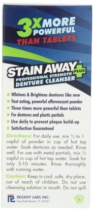 StainAway Plus Powered Professional Strength Denture Cleanser 8.1 fl oz (Pack of 3)