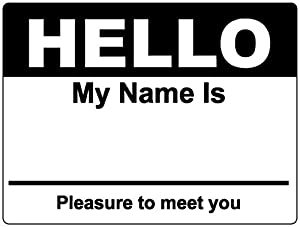 black hello my name is name badge tag labels stickers 1 roll office products. Black Bedroom Furniture Sets. Home Design Ideas