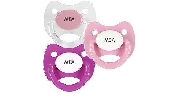 Pack 3 chupetes personalizados con el nombre de Mia: Amazon ...