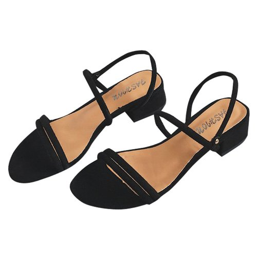 Negro Colores Zapatos para JUWOJIA Atrás Sandalias Mujeres Tacones Talón Estrobo De 3 Cuadrados del Señoras wxO6qAwUp