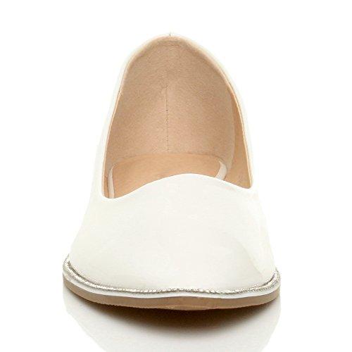 Damen Flach Spitz Strass Rand Gittergewebe Abend Ballerina Schuhe Pumps Größe Weiß