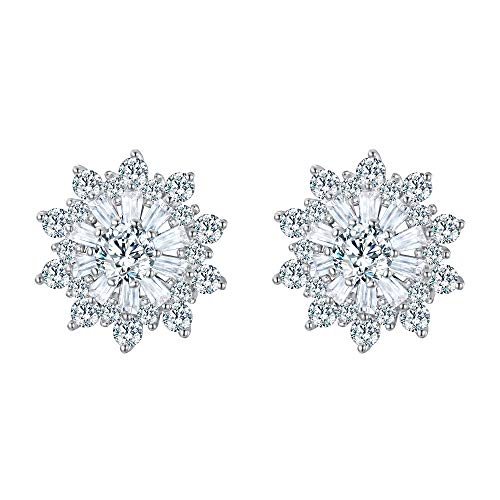 - EVER FAITH 925 Sterling Silver Full Cubic Zirconia Snowflake Flower Stud Earrings Clear
