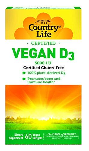 Country Life Vegan D3, 5000 IU - 60 Vegan Capsules