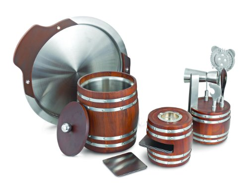 Cocktail & Dreams, Barrel Barware Range. Ice Bucket, Ashtray cum Coaster set, Ice tong, Ped measurer 25/50 ml, Bottle opener , Separator & Knife, Tray with wooden handle, Master Box.