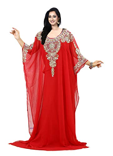 KoC Women's Kaftan Maxi Dress Farasha Caftan KFTN113-Red
