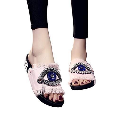 Todaies Women's Summer Sandals,Summer Spring Ladies Girls Crystal Flat Slippers Beach Shoes (39, Pink)