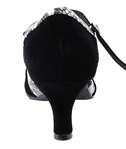 Chaussures De Danse Salsa Tango Latine Très Fine Pour Les Femmes Sera3551 Talon De 2,5 Pouces + Bundle De Pinceau Pliable Velours Noir Velours Blanc