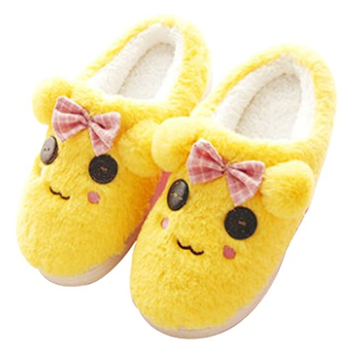 Cattior Womens Indoor Warm Dog Slippers Cute Slippers Brown