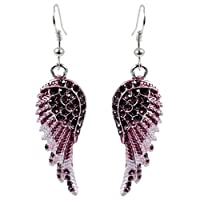 EVER FAITH Angel Wing Hook Earrings Austrian Crystal Silver-Tone