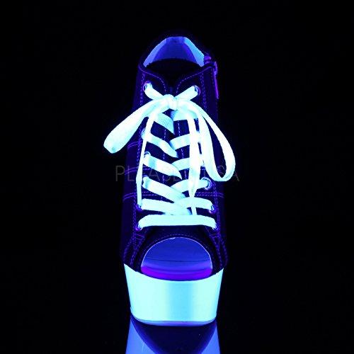 Pleaser Plateau Sneaker Heels mit Stöckelabsatz und Schnürung, Offener Zehenbereich, Vegan in Schwarz/Weiß mit Schwarzlich-Effekt Deli