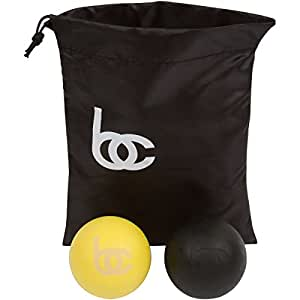 #1 Premium Massage Lacrosse Balls - Myofascial, Deep Tissue, Trigger Point, Wod's - Set of Two Balls - Free Travel Bag Included - 1 Yellow & 1 Black Ball - Lifetime Guarantee - Relieve Chest, Back, and Foot Pain - Relax Those Muscle Knots Now!