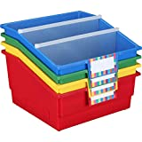 Really Good Stuff 666080 Picture Book Library Bins with Dividers Primary Set of 4
