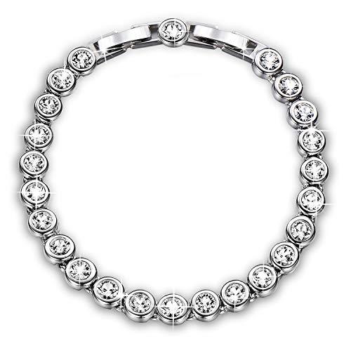 "YALONG April Birthstone Jewelry for Women Tennis Bracelet White Gold Plate 6.5""+1"",Crystals from Swarovski ()"