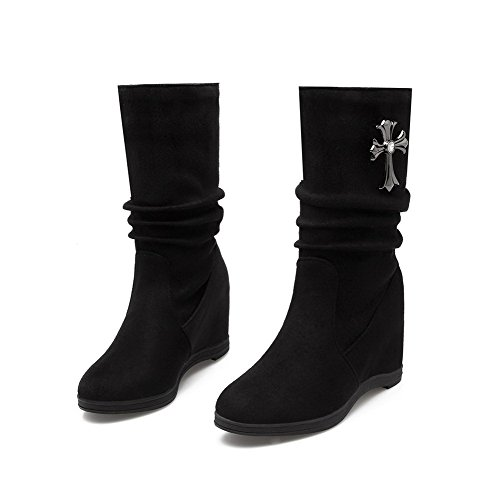 Allhqfashion Mujeres's Pull-on Round Closed Toe Tacones Bajos Imitados Gamuza Low-top Botas Negro