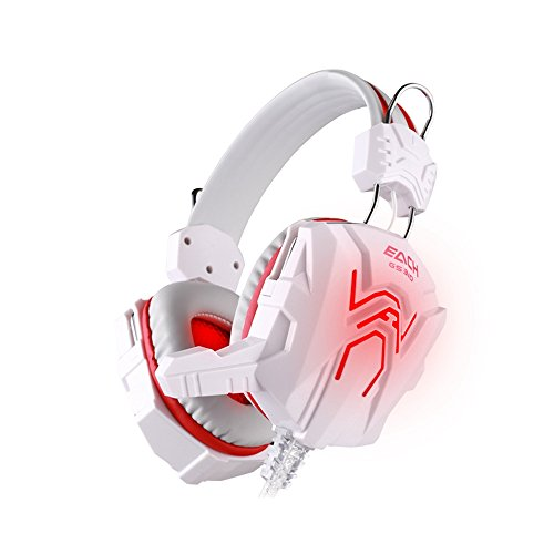 OWIKAR PC Gaming Headset With Microphone GS310 Video Game Headphones With LED Light Vibration USB 3.5mm Stereo Over-the-head Computer Headset Headband Earphone Earpiece For Internet Cafe (White/Red)