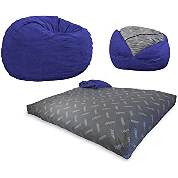 Amazon CordaRoys Chenille Bean Bag Chair Charcoal Queen