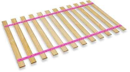 New Twin Size Custom Width Bed Slats with Glitter Pink Straps - Choose your needed size - Eliminates the need for a link spring or box spring! by The Furniture Cove