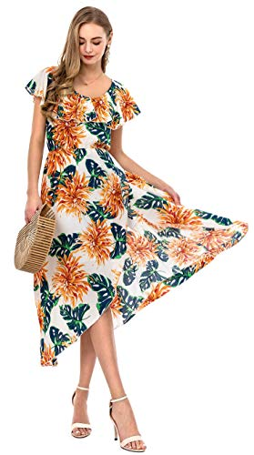Wantdo Women's Split Ruffle Scoop Neck Long Dresses Holiday Chrysanthemum L