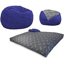 CordaRoy's - Navy Blue Corduroy Convertible Bean Bag Chair - Queen