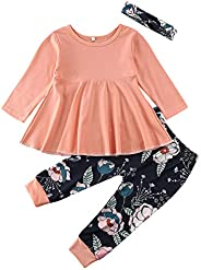 Cotrio Newborn Baby Girl Clothes Ruffle Sleeve Romper Tops Floral Pants Headband Bodysuit Outfit Set