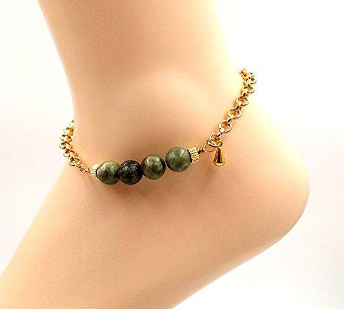 Rainforest Ryolite Jasper Anklet- Gold-plate Ankle Bracelet- Gemstone Bar Collection - - Gems Earthtone