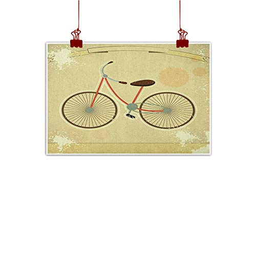 Canvas Prints Wall Decor Art Vintage,Postcard of a Retro Bicycle on Grunge Background Illustration Artwork Print, Brown and Khaki 24