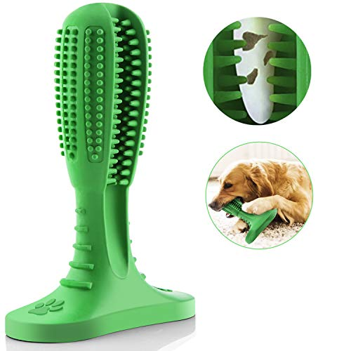 Quntion Dog Toothbrush Toy,Doggy Dental Care Brushing Stick for Large and Small Breed, Bite Resistant Chew Toys Made of Natural Nontoxic Rubber for Pets Dogs Teeth Cleaning
