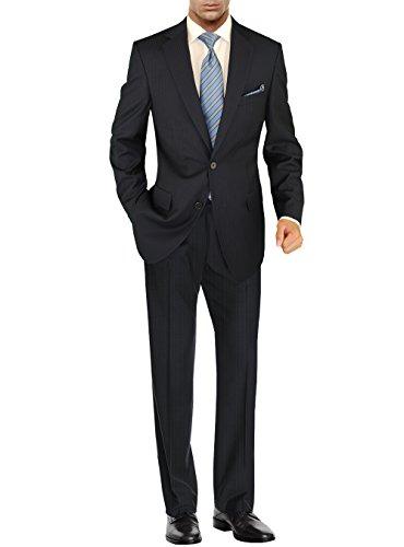Salvatore Exte Men's Modern Two Button 2 piece Striped Suit (40 Regular US/50R EU/W 34