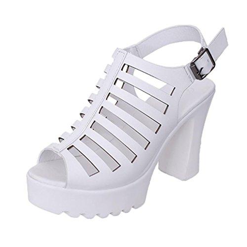 HUHU833 Women's Rough Hollow Roman Shoes Waterproof Sandals High-Heeled Open-Toed Shoes White iakKAr